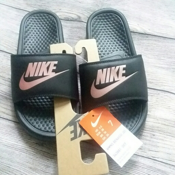 fefaebe994b New NIKE Benassi Black Rose Gold Slide On Sandals